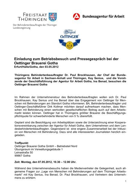Einladung Zum Betriebsbesuch Und Pressegesprach Bei Der Gotha