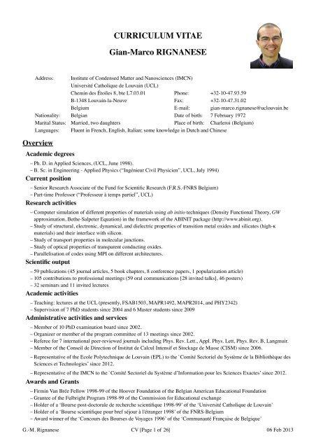 Curriculum Vitae Gian Marco Rignanese Ucl Universite