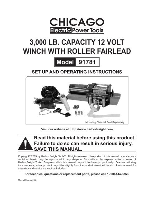 3000 Lb Capacity 12 Volt Winch With