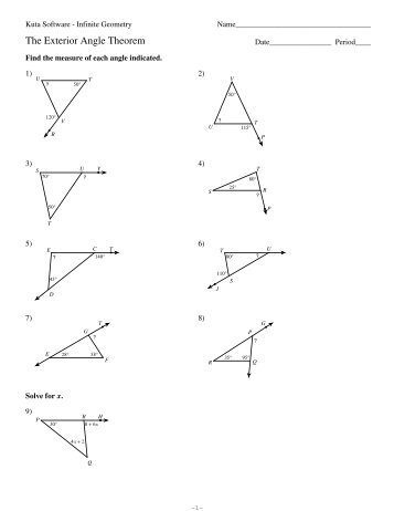 Exterior Angle Theorem Worksheet - Delibertad
