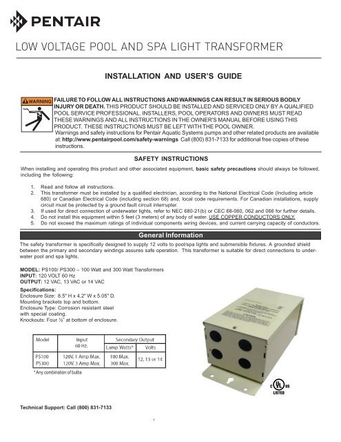 low voltage pool and spa light transformer  pentair