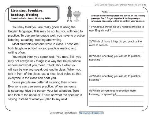 2nd Grade Reading Comprehension Worksheets Second Grade
