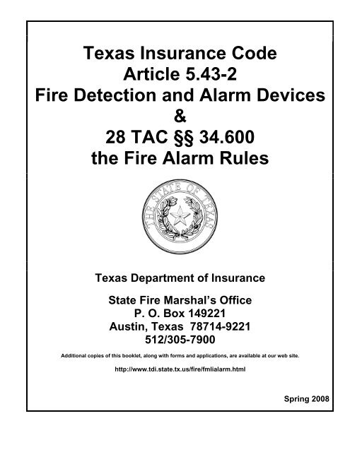 Texas Insurance Code Article 5 43 2 Fire Detection And