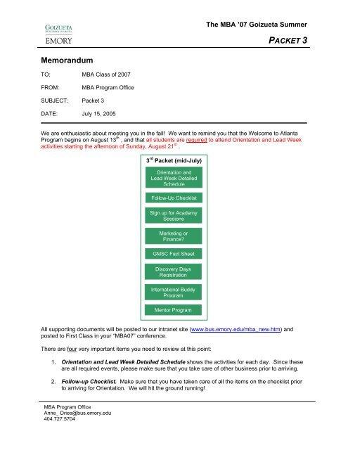 Packet 3 Emory Goizueta Business School Intranet Emory University