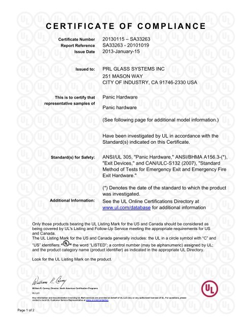 Certificate Of Compliance Prl Glass Systems Inc