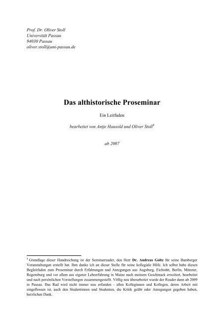 Das Althistorische Proseminar Philosophische Fakulta T