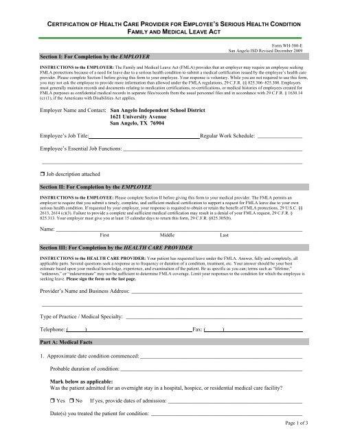 Fmla Certification Of Health Care Provider San Angelo Isd