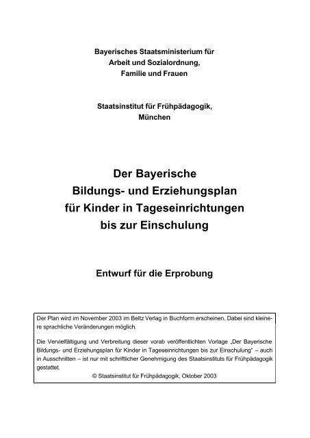 Bayerischer Bildungs Und Erziehungsplan Schulamt