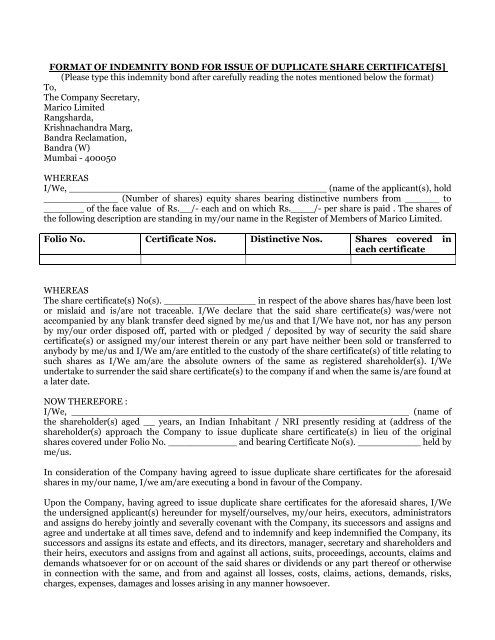 Form For Loss Of Share Certificate Marico