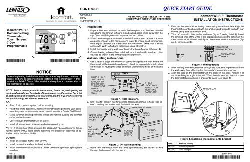 icomfort wifi installation manual  lennox