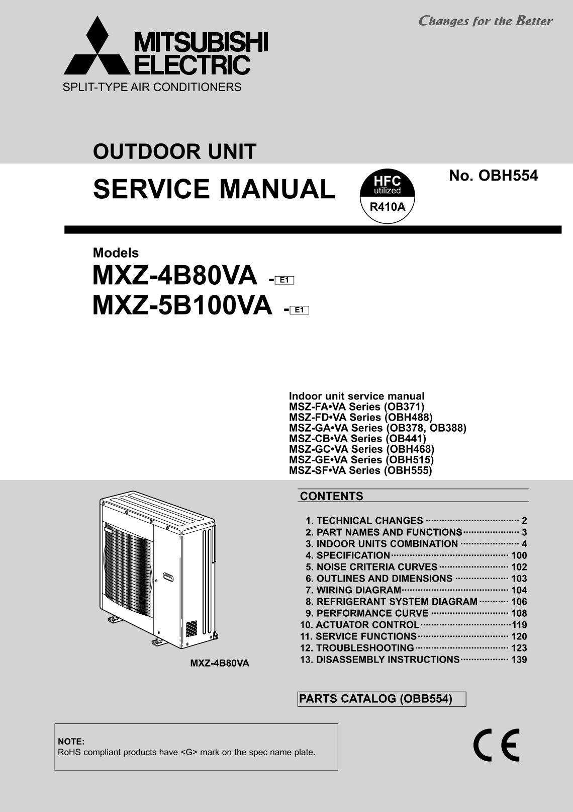 service manual mxz 4b80va e1 mxz 5b100va mitsubishi electric mitsubishi msz wiring diagram mitsubishi schematics and wiring mitsubishi mirage 2000 wiring diagram at gsmportal.co