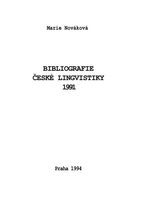 Marie Nova Kova Bibliografie Aœeska Lingvistiky 1991