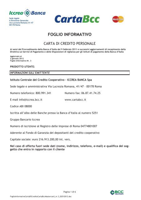 Carta Bcc Credito Powered Banca Don Rizzo