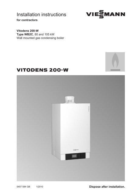 Vitodens 200 80 105 Kw Installation Instructions Viessmann