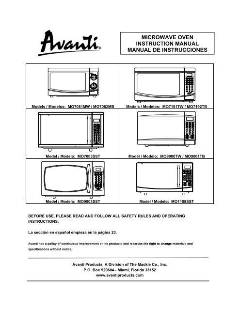 user manual microwave