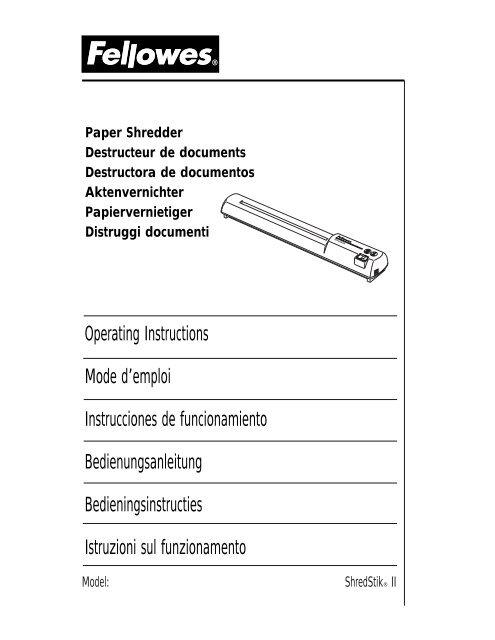 Shredstik Ii Manual 2000 Fellowes