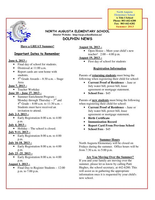 End Of The Year Newsletter North Augusta Elementary Website