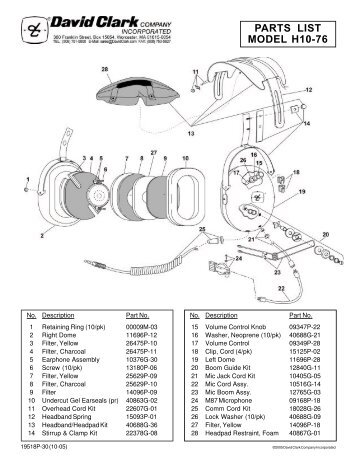 parts list model h10 76 david clark company incorporated?resize\=357%2C462\&ssl\=1 clark dt 50 wiring diagram wiring diagrams david clark h10-76 wiring diagram at panicattacktreatment.co