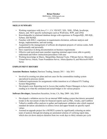 junior trader resume