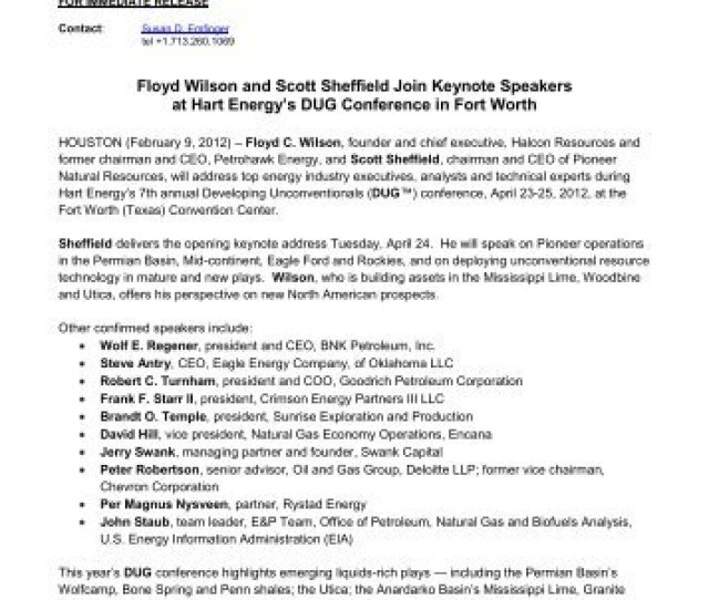 Floyd Wilson And Scott Sheffield Join Keynote Speakers Hart Energy