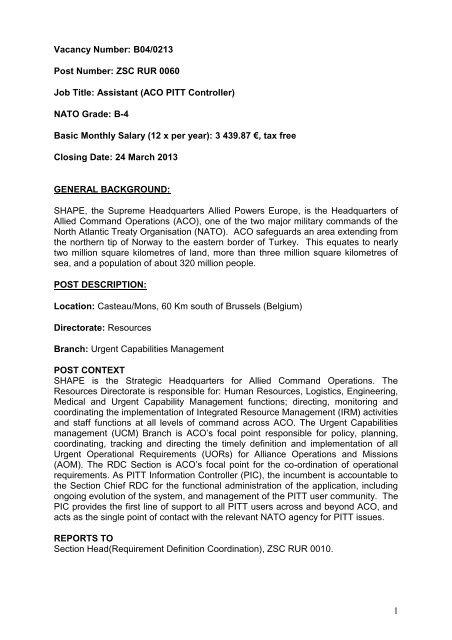 Nato Job Description Aco