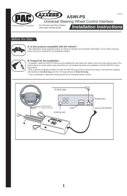 product instructions  sonic electronix