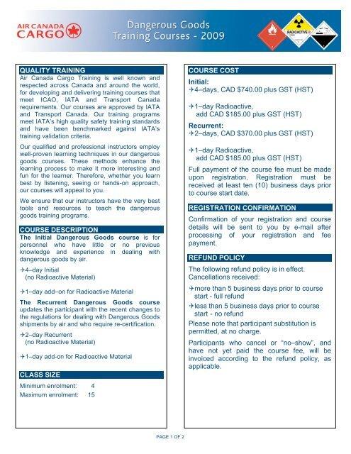 Quality Training Course Description Class Size