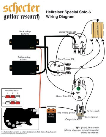 HELLRAISER SOLO 6 WIRING DIAGRAM  Schecter Guitars