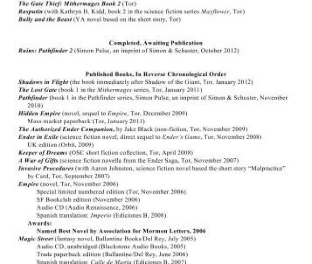 Orson Scott Card List Of Publications And Hatrack River