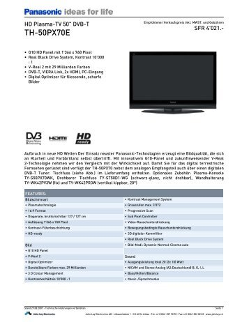 Panasonic TH 65PZ700E Plasma TV Sack Gmbhde