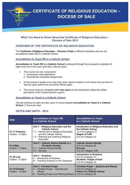 Certificate Of Religious Education Catholic Education