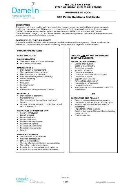Dcc Public Relations Certificate Damelin Correspondence College