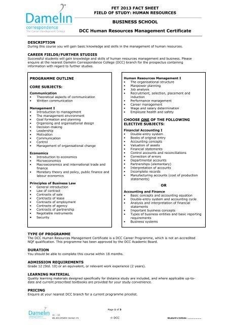 Dcc Human Resources Management Certificate Damelin