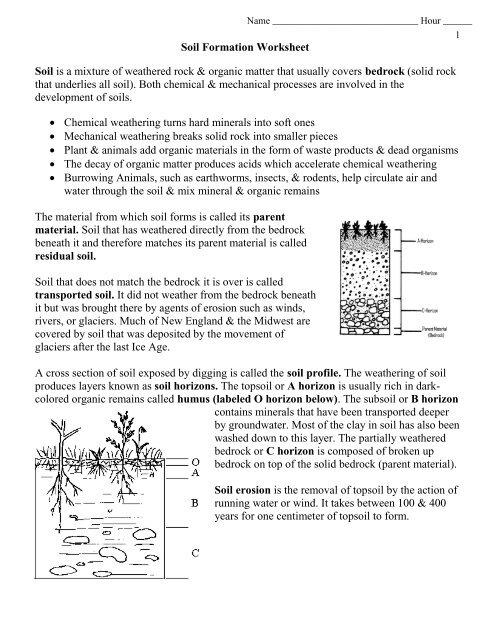 Soil Formation Worksheet Pdf Envgeology