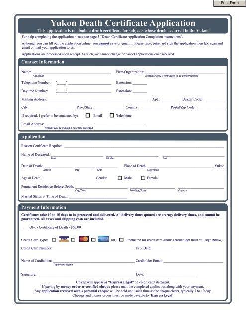 Yukon Death Certificate Application Vitalcertificates Ca