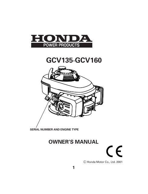 Owner S Manual Gcv135 Gcv160 Muck Truck