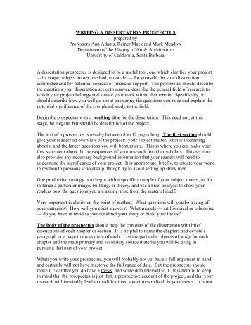 history thesis prospectus Handbook for senior thesis writers in history | 7 date material due august 201131 thesis prospectus due (in class) of 19 september 2011week annotated bibliography.