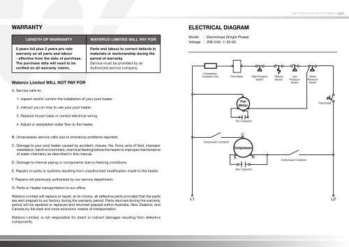 warranty electrical diagram  poolheatpumps