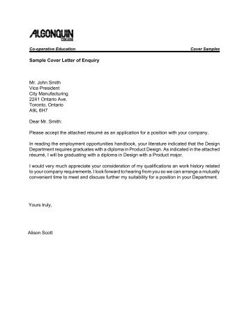 cover letter sample college student