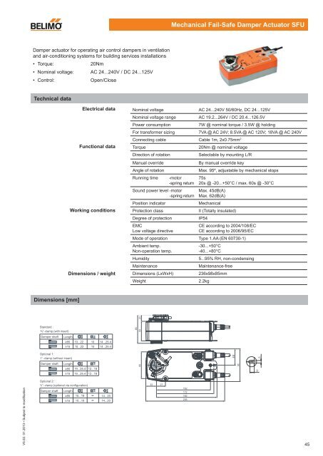 mechanical failsafe damper actuator sfu  belimo actuators