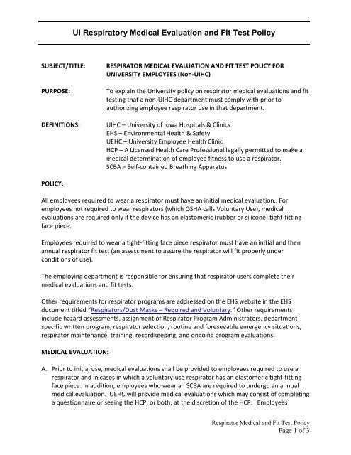 Ui Respiratory Medical Evaluation And Fit Test Policy
