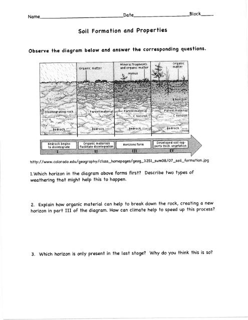 Soil Formation And Properties Worksheet Pdf Lurgio Pod 8 North