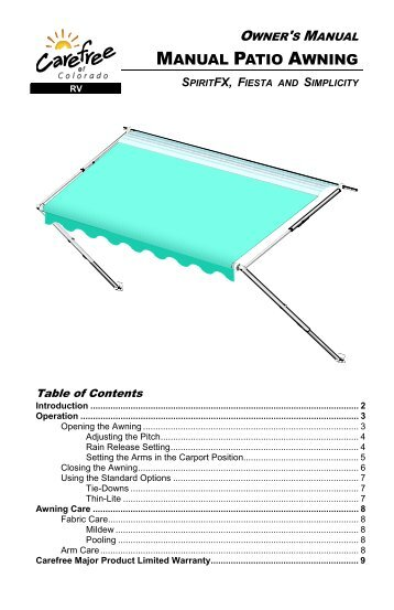 Carefree electric awning manual