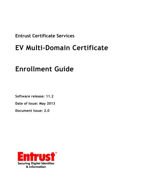 Ev Multi Domain Certificate Enrollment Guide Entrust