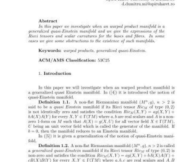 Generalized Quasi Einstein Warped Products Annals Of Spiru Haret