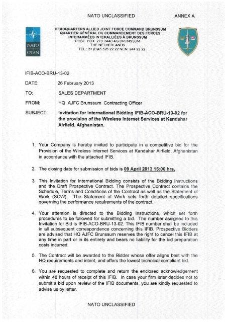 Statement Of Work Specifications Wireless Internet Aco Nato