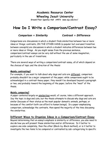topic for compare and contrast essay