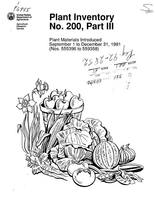 Plant Inventory No 200 Part The Germplasm Resources