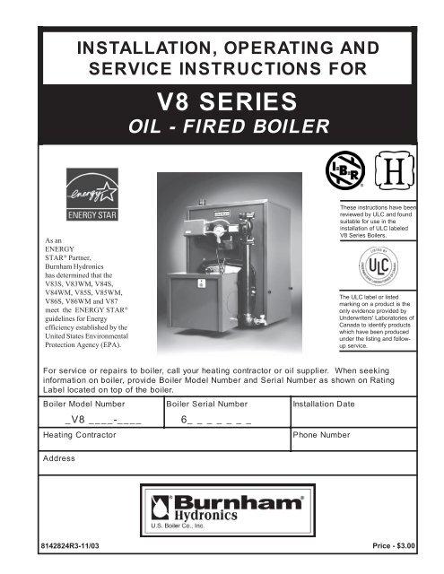 burnham v8 series instructionspdf  heating help