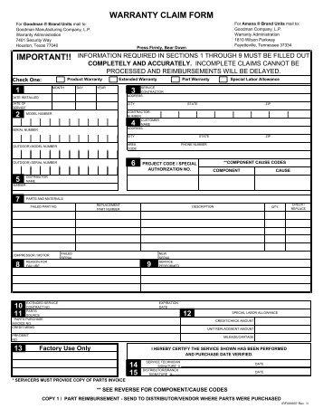 Warranty Claim Form